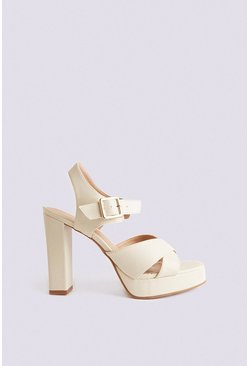 Off white Cross Over Platform Heel
