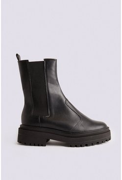 Black Chunky Pull On Boot