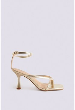 Metallic gold Ankle Strap Kitten Heel Sandal