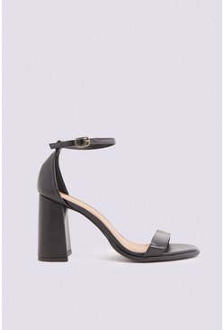 Black Ankle Strap Block Heel