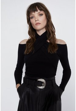 Black Cross Neck Rib Jumper