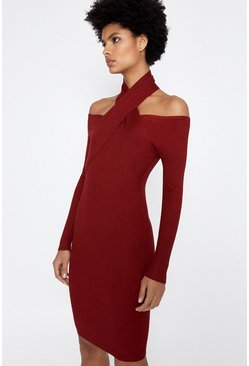 Berry Cross Neck Rib Knitted Dress