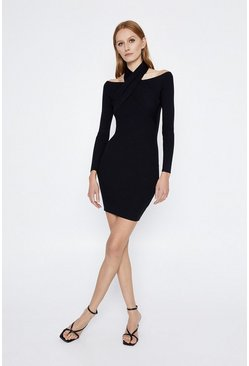 Black Cross Neck Rib Knitted Dress