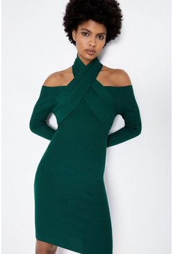Dark green Cross Neck Rib Dress