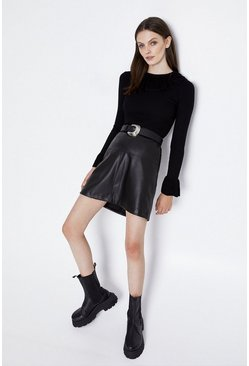 Black Frill Neck And Cuff Jumper