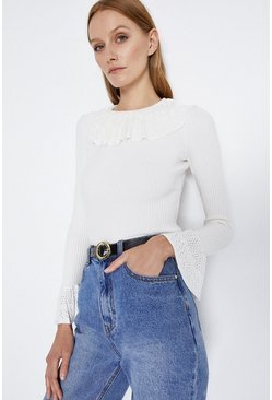 Ivory Frill Neck And Cuff Jumper