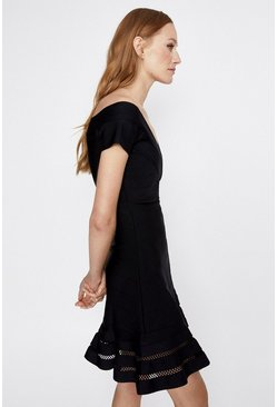 Black Bardot Skater Knitted Dress