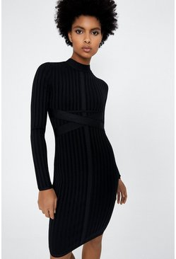 Black Ribbed Bandage Dress