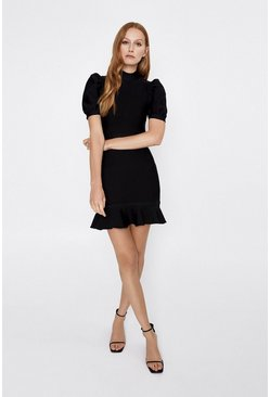 Black Puff Sleeve Knitted Bandage Dress