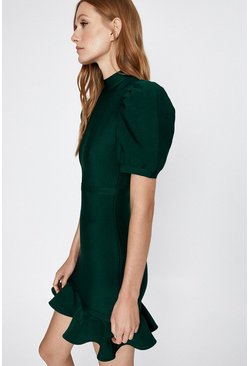 Green Puff Sleeve Bandage Dress