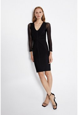 Black V Neck Knitted Bandage Dress