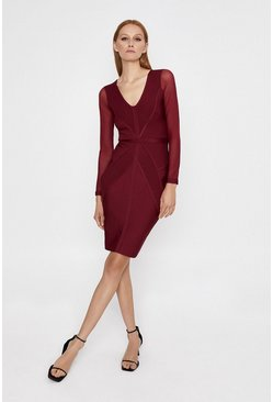 Wine Mesh Sleeve V Neck Bandage Dress