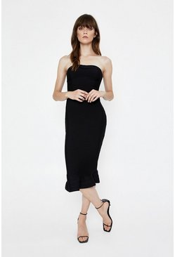 Black Bandeau Fishtail Knitted Dress