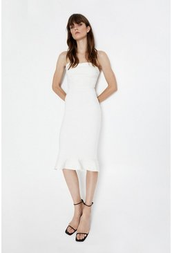 Ivory Bandeau Fishtail Knitted Dress