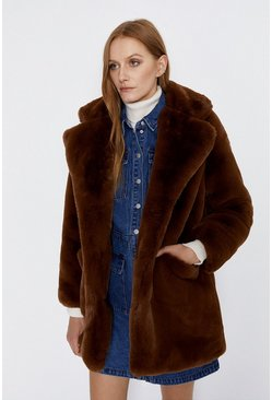 Chocolate Long Fur Jacket