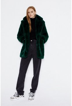 Dark green Long Fur Jacket