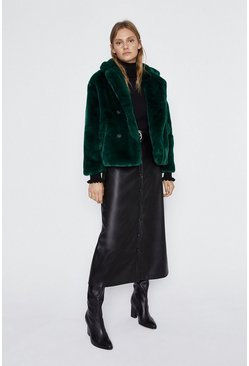 Dark green Short Faux Fur Jacket