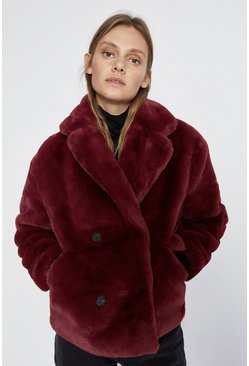Wine Short Faux Fur Jacket