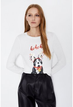 Ivory Sequin Pug Jumper