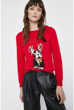 Red Sequin Pug Jumper