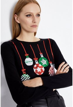 Black Sequin Bauble Jumper