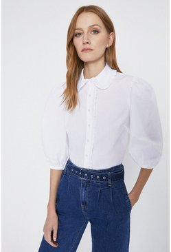 White Puff Sleeve Lace Trim Shirt