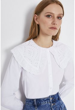 White Oversized Bibbed Blouse