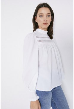 White Lace Insert Pintuck Detail Top