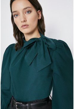 Dark green Tie Neck Cotton Puff Sleeve Top