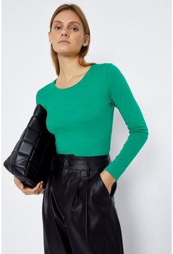 Green Long Sleeve Scoop Neck Top