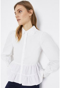 White Embroidered Collar Tiered Shirt