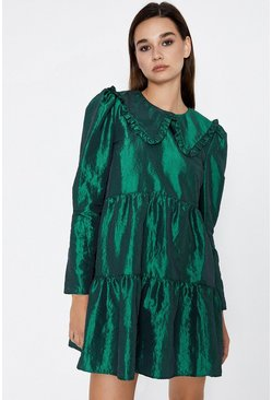 Dark green Collar Detail Taffetta Dress