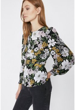 Black Curved Seam Detail Printed Top