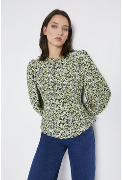 Multi Curved Seam Detail Printed Top