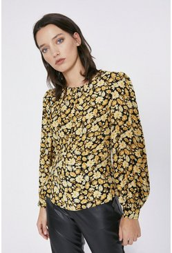 Orange Curved Seam Detail Printed Top