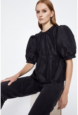 Black Puff Sleeve Taffetta Top