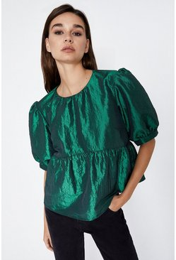 Dark green Puff Sleeve Taffetta Top