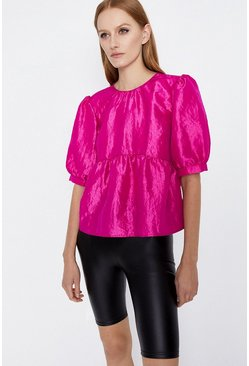 Pink Puff Sleeve Taffetta Top