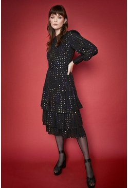 Black Rainbow Spot Tiered Midi Dress