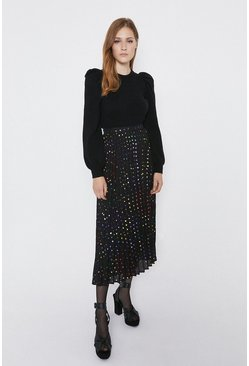 Black Rainbow Spot Midaxi Skirt