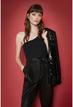Black Premium One Shoulder Top
