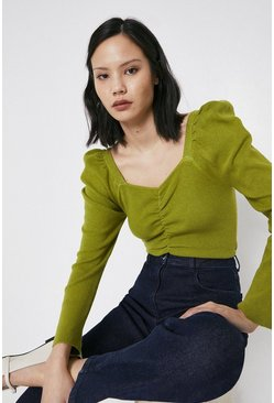 Olive Ruched Sweetheart Jumper