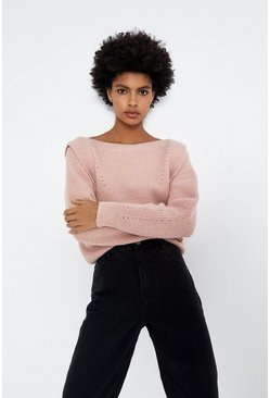Camel Lip Shoulder Slash Neck Jumper