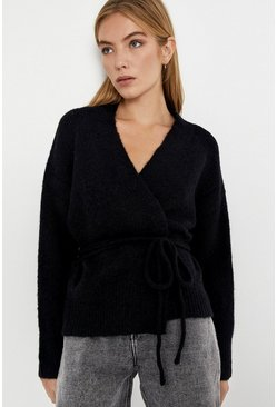 Black Belted Wrap Cardigan