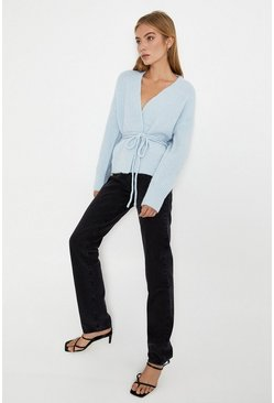 Pale blue Belted Wrap Cardigan