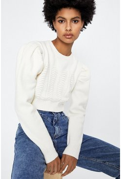 Ivory Zig Zag Stitch Crop Jumper