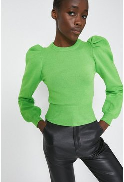 Green Puff Sleeve Jumper
