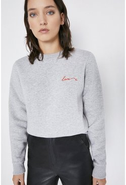 Grey Love Embroidered Sweatshirt