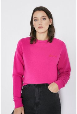 Pink Love Embroidered Sweatshirt