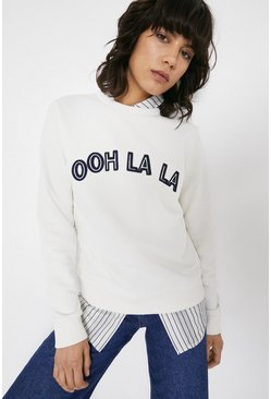 Ivory Ohh La La Embroidered Sweat